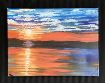 "Landscape Oil Painting-Sunset on the Lake Print on 12""x16"" Canvas, Sunset Art Print of Original Oil Painting, Lake View Wall Decor Art"