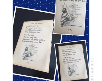 Vintage nursery rhyme, vintage book page, child's room decor, nursery decor, vintage decor, vintage book, moon decor, kids room decor, baby