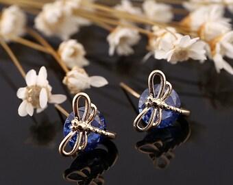 Swarvoski Elements Blue Crystal Dragonfly Stud Earring