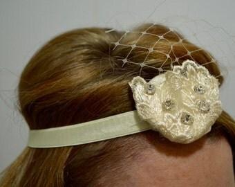 Ivory Lace, Netting & Diamante Headband