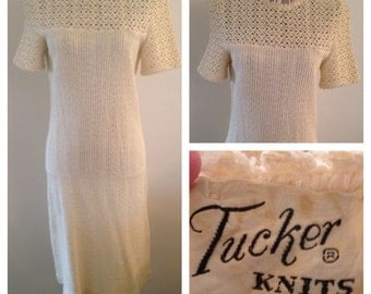 Vintage Tucker Knits Cream Colored Dress