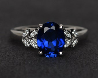 sapphire ring blue gemstone ring oval cut engagement ring September birthstone ring