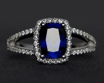 blue sapphire ring silver cushion cut sapphire engagement ring gemstone ring split shank promise ring