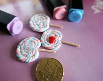 kawaii Lollipop Cabochons-pastel red heart 3