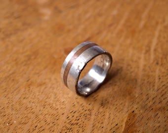 Cast silver ring & walnut inlay