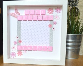 best friend gift pink personalised gift box frame best friend picture frame keepsake box best friend scrabble frame christmas gift