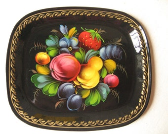 Small metal tray hand painted / Russian craft, USSR, USSR / fruits and flowers decoration / rectangular / Folk Art / Vintage Russia
