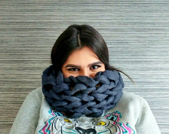 Handmade chunky knit felted cowl | knitted scarf | merino wool | dark grey cowl | extra chunky scarf | winter fashion | infinity scarf |
