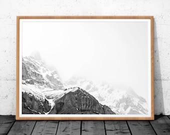 Mountain print, Black and White Mountain, Mountain Art, Landscape Print, Mountain Wall Art Print, Mountain Printable, Landscape Mountain