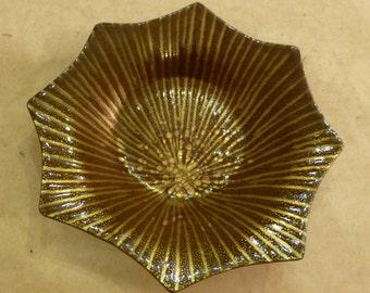 Midcentury Modern 8 Point Gold Sunburst Enamel on Copper Plate Annemarie Davidson Era