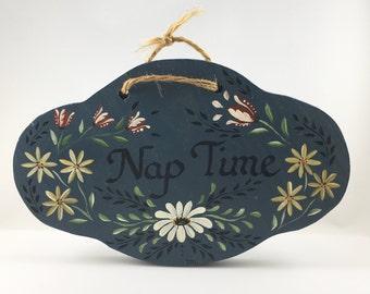 Norwegian Rosemaling Nap Time Door Sign, Baby Sleeping, Do Not Disturb Baby, New Baby Gift, Baby Shower, Nap Time Sign, Norwegian Rosemaling