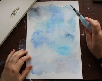 Handmade Blue Original Abstract Watercolor Unframed Art On Watercolor Paper by Allie Bigoness
