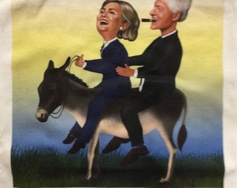Hillbilly Rides Again Political Tee Shirt Bill and Hillary