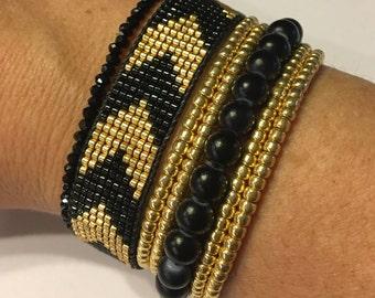 Chevron bracelet, gold and black bracelet, silver and pearl bracelet