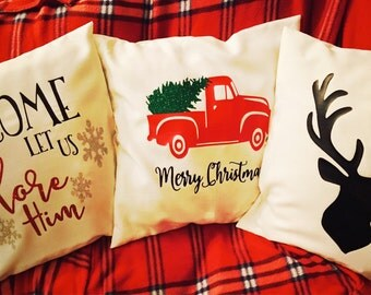Christmas throw pillow covers! 18x18 covers perfect for decorating for the holidays!