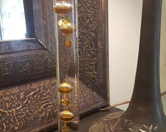 ON SALE, Galileo Thermometer, Vintage Thermometer, Orange Thermometer, Glass Thermometer, Home Decor, Unique thermometer, tall thermometer