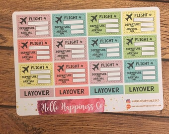 Flight Tracking Stickers- Travel Planner Stickers - Boarding Pass Stickes - Functional Stickers - Multiple Color Options
