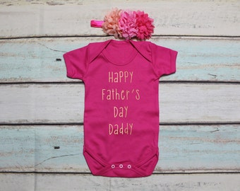 Happy Father's Day Daddy Gold Print Vest Bodysuit Onesie And Headband Set Outfit