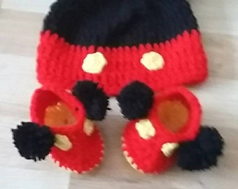 mickey hat with pom poms and shoes