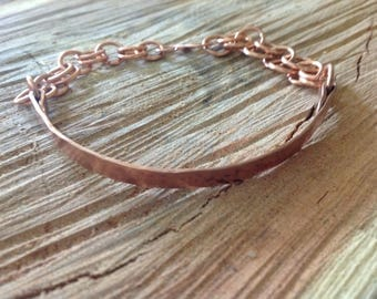 Skinny Cuff and Chain Initial Bracelet, Narrow Copper Loose Cuff and Chain Initial Charm Bracelet