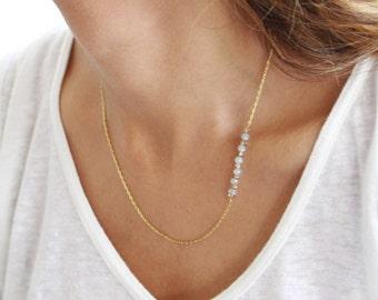 Skinny bead necklace tiny bead necklace minimalist necklace dainty necklace simple necklace boho necklace beaded necklace layering necklace
