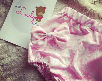 Daisy pink bloomers and bow set