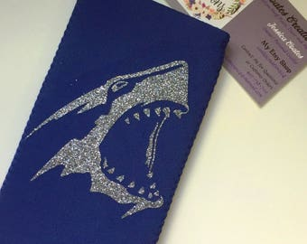 Shark Can Coolie//Mic Ultra Slim Can//shark week//glitter shark//party favors//bachelorette party//alcohol gifts//beer sleeve//can cleeve