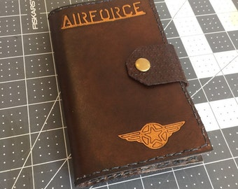 Custom Leather Journal, Personalized Leather Notebook, Military Journal, Air Force Gift, Lined Pages, Journal Included, Military Gift