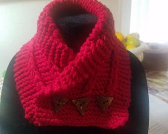 Handmade crochet red scarf