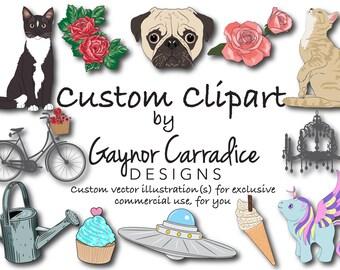 Custom clipart illustration, custom vector illustration, custom character design, custom graphic design in ai, svg, png