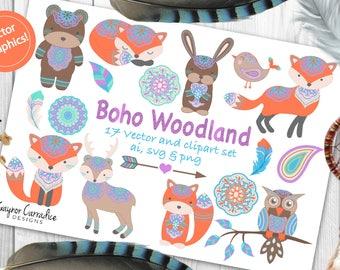 Tribal woodland clipart, boho woodland clipart, tribal woodland vectors, boho woodland vectors, woodland animals, tribal animals