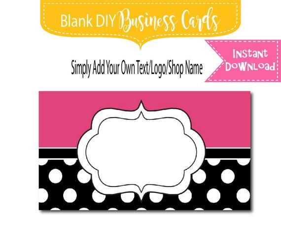 Black polka dot business card design blank instant download for Polka dot business card templates free