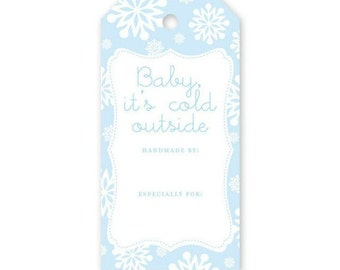 Knitterella Baby It's Cold Outside, Gift Tag, Knit Gift Tag, Knitting Tag, Wash Instuction Tag, Care instruction tag, Knitting tag