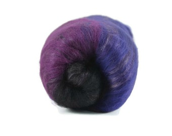 2 oz. Carded Spinning Batt, Spinning Fiber, Merino, Bamboo, Silk and More, Fiber batt, spinning wool, hand carded, black, purple - Midnight