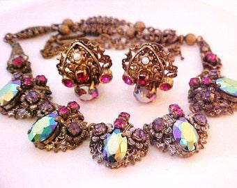 West Germany Aurora Borealis Rainbow Rhinestone Necklace & Earrings pink purple red multi-color