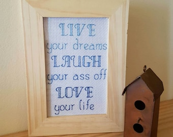 LIVE LAUGH LOVE framed cross stitch inspirational