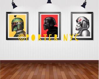 STAR WARS art print Boba Fett collection large size