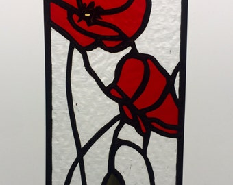 Stained glass mini panel - red stained glass poppies with clear textured glass finished with shiny black patina - Made to Order