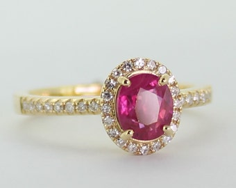 18ct Yellow  Gold Ruby  and  36 diamonds Ring. certified NCJV-FGAA