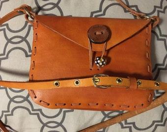Leather shoulder bag, crossbody bag