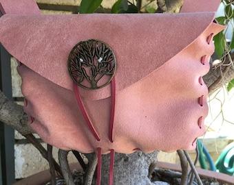 Suade Leather medieval belt pouch Renaissance Faire, price drop