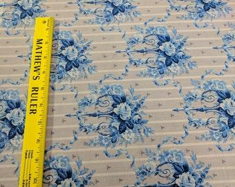 Maison Blues Cotton Fabric by RJR fabrics-Blue Flowers