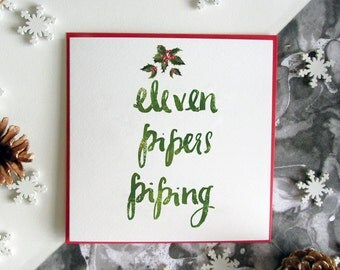 Eleven Pipers Piping Christmas Card