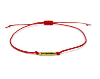 Kabbalah bracelet / kabbalah bracelet / red and 7 gold - plated miyuki Creation of chip beads