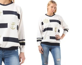 Anchor Sweater 80s Striped Nautical Sailor Jumper Gold White Navy Blue Vintage Knitted Cotton Slouch 1980s Hipster Medium