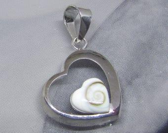 Pendant mounted on sterling silver heart shaped eye of Shiva