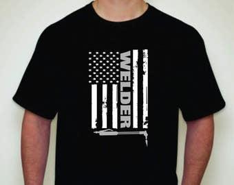 Welder Flag T-shirt-Welder T-shirt-Welder shirt-Welder