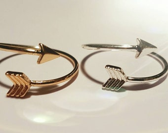 Silver plated or gold plated arrow ring