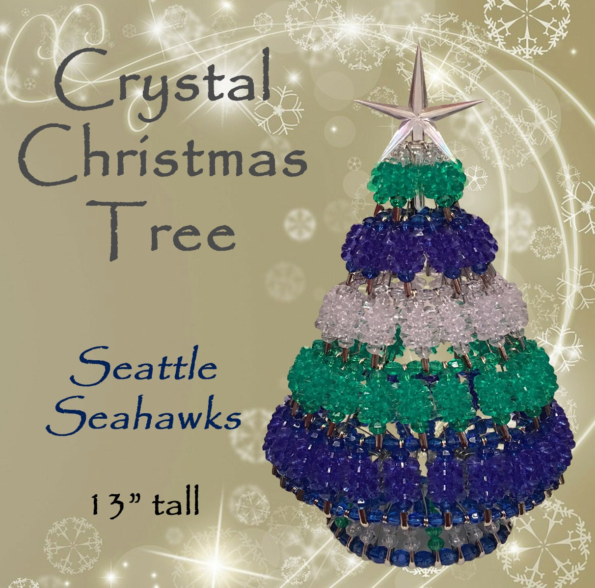 Seattle Christmas Tree Lighting: Miniature SEATTLE SEAHAWKS Crystal Christmas Tree