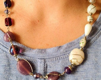 Wire wrapped necklace, Shades of purple and white individually wire wrapped glass beaded necklace, hand-made, one of a kind